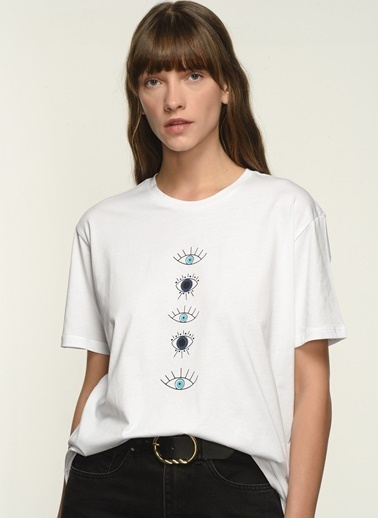 NGSTYLE NGKSS21TS0034 Baskılı Tişört Beyaz
